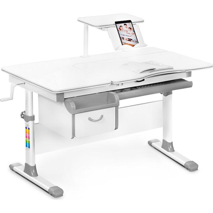 Детский стол Mealux Evo-40 (EVO-40) G - столешница белая / ножки белые с серыми накладками