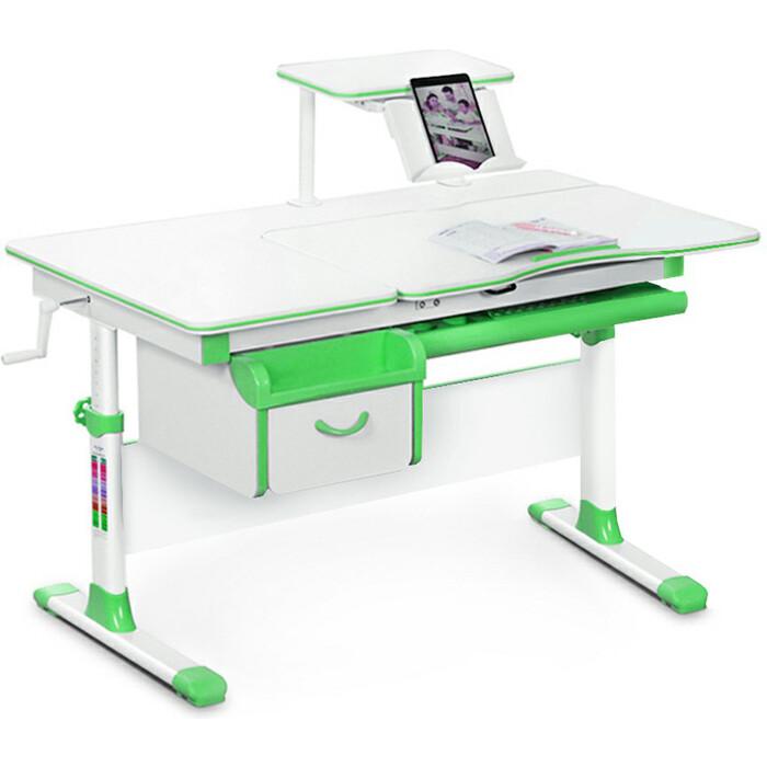 Детский стол Mealux Evo-40 (EVO-40) Z - столешница белая / ножки белые с зелеными накладками