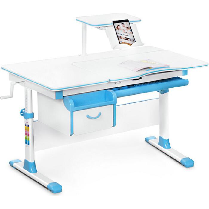 Детский стол Mealux Evo-40 (EVO-40) BL - столешница белая / ножки белые с голубыми накладками