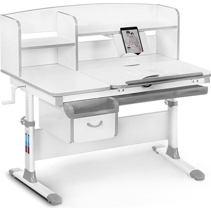 Детский стол Mealux Evo-50 (EVO-50) G - столешница белая / ножки белые с серыми накладками