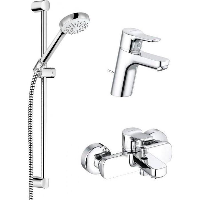 Комплект смесителей Kludi Pure&Easy для раковины, ванны, душевой гарнитур, хром (376850565)