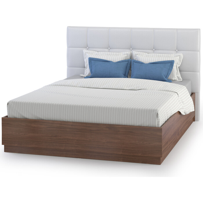 Кровать Моби Камея 11.04 с подъемным ортопедом белый глянец/орех селект каминный б/м 160x200