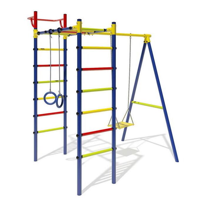 Детский спортивный комплекс Маугли 14-01 синий с разноцветными ступенями