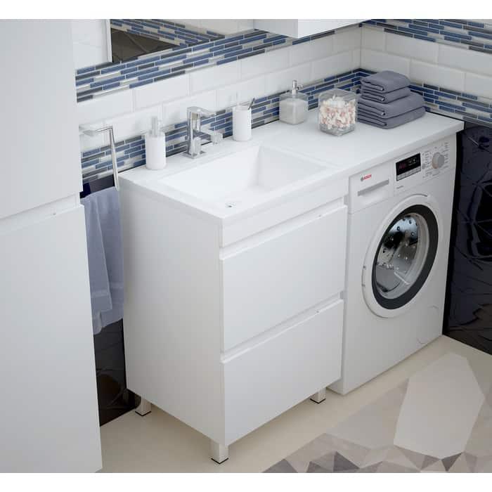 Тумба под раковину Corozo Альтаир 57 (120) напольная, стриальную машинку, белая (SD-00000500)