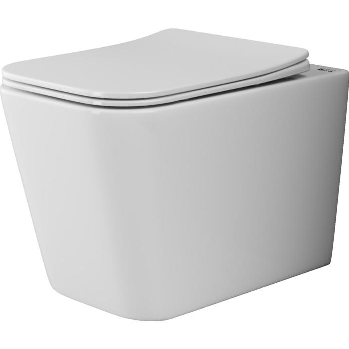 Подвесной унитаз Ceramica Nova Cubic Rimless, с крепежом, сиденьем микролифт (CN1806)