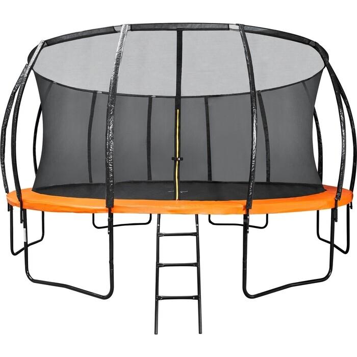 Батут DFC KENGOO II 16ft внутр.сетка, лестница, оранж/черн (488см)(два короба)