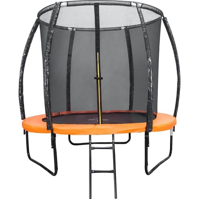 Батут DFC KENGOO II 6ft внутр.сетка, лестница, оранж/черн (183см)