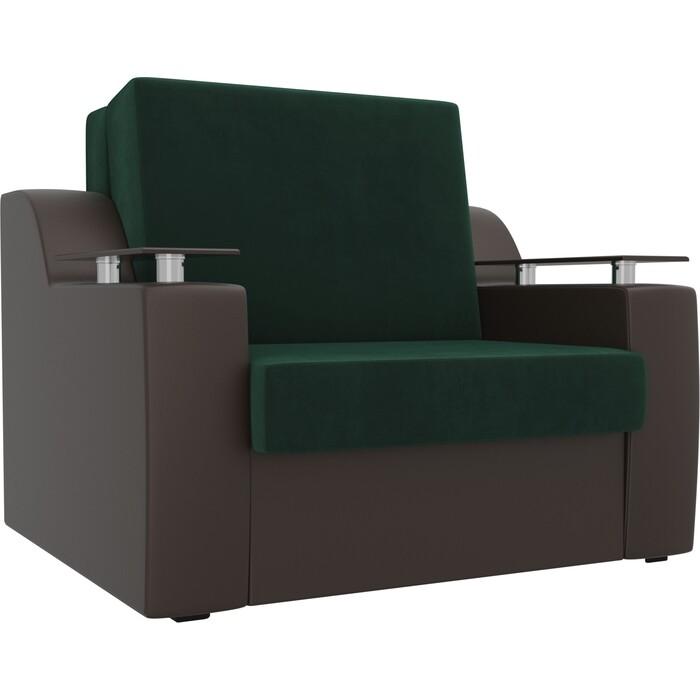 Кресло-кровать АртМебель Сенатор велюр зеленый экокожа коричневый (60)