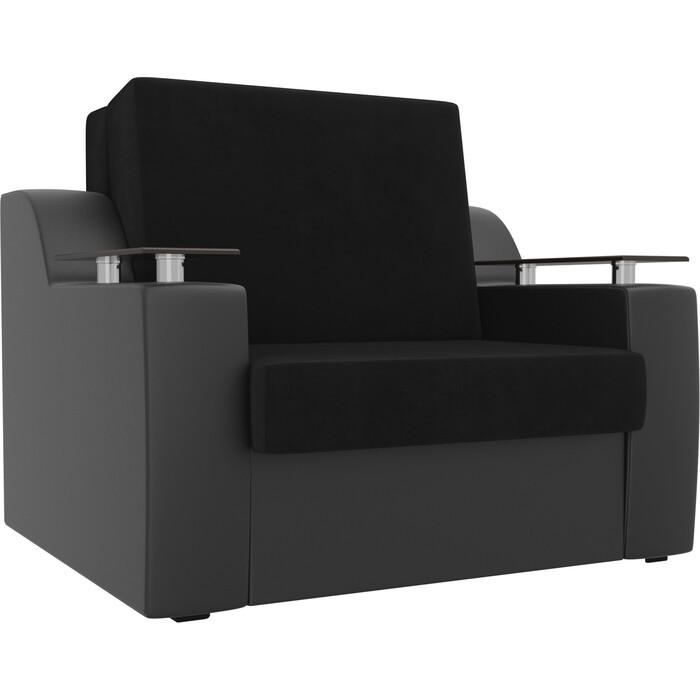 Кресло-кровать АртМебель Сенатор велюр черный экокожа (60)