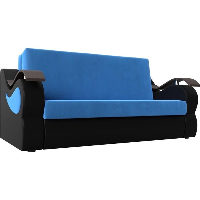 Прямой диван АртМебель Меркурий велюр голубой экокожа черный (160) прямой диван артмебель меркурий велюр серый экокожа черный 100