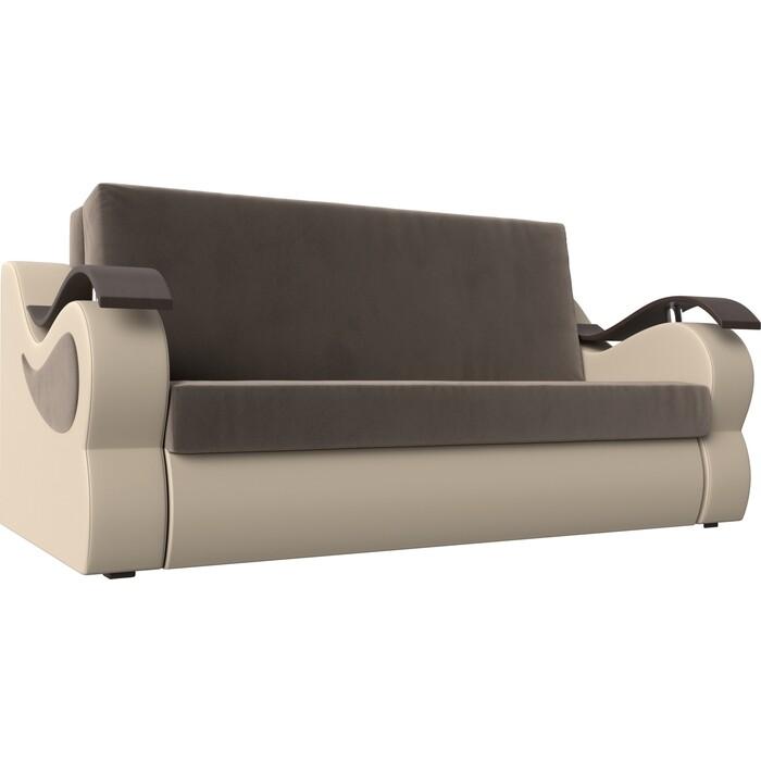 Фото - Прямой диван АртМебель Меркурий велюр коричневый экокожа бежевый (140) диван артмебель меркурий экокожа бежевый коричневый прямой
