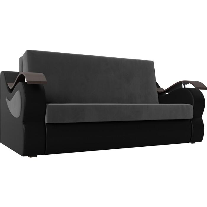Прямой диван АртМебель Меркурий велюр серый экокожа черный (140)