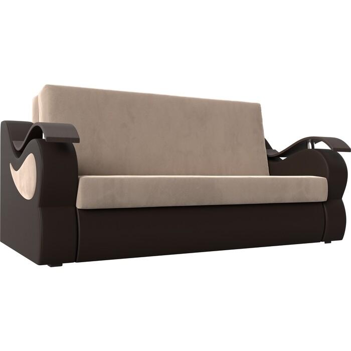 Фото - Прямой диван АртМебель Меркурий велюр бежевый экокожа коричневый (120) диван артмебель меркурий экокожа бежевый коричневый прямой