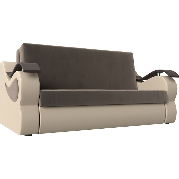 Фото - Прямой диван АртМебель Меркурий велюр коричневый экокожа бежевый (100) диван артмебель меркурий экокожа бежевый коричневый прямой