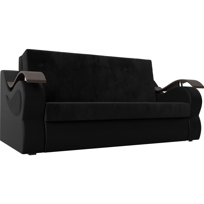 Прямой диван АртМебель Меркурий велюр черный экокожа (100)
