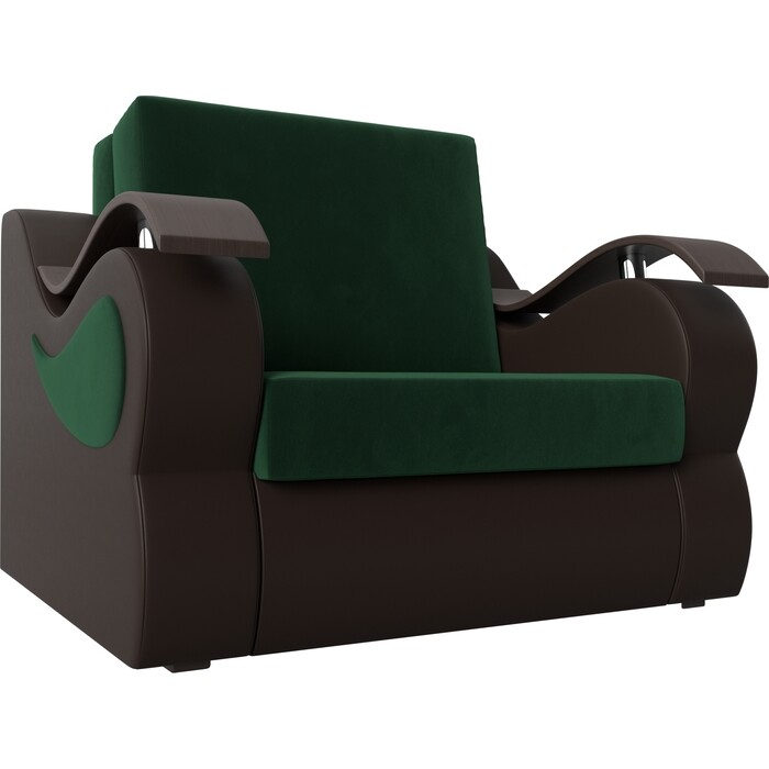 Кресло-кровать АртМебель Меркурий велюр зеленый экокожа коричневый (80)