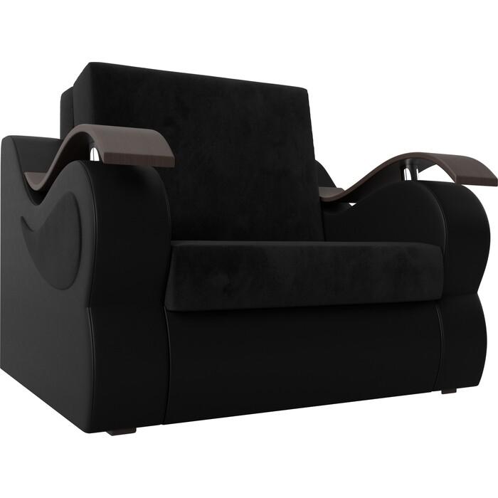 Кресло-кровать АртМебель Меркурий велюр черный экокожа (80)