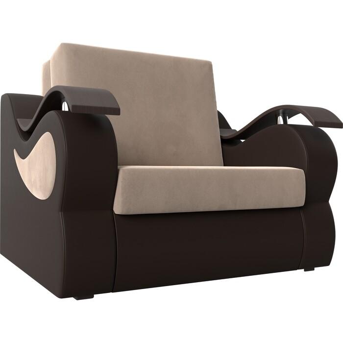 Кресло-кровать АртМебель Меркурий велюр бежевый экокожа коричневый (60)