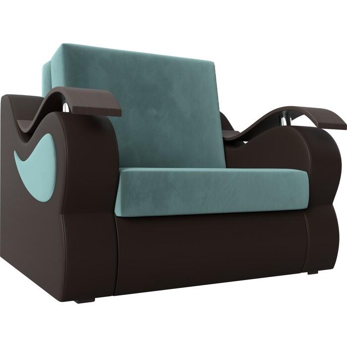 Кресло-кровать АртМебель Меркурий велюр бирюза экокожа коричневый (60)