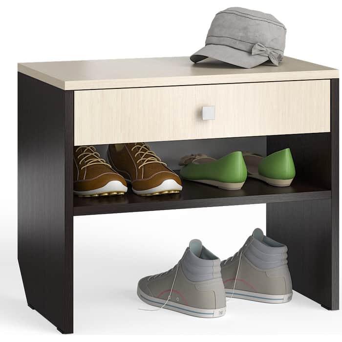 Тумба для обуви Мебельный двор С-МД-ТО-08 венге/дуб с выдвижным ящиком