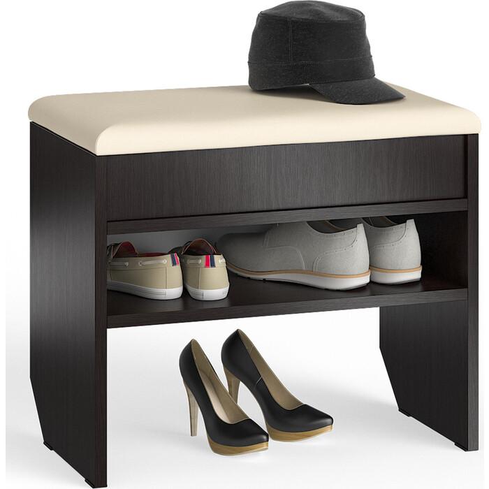 Тумба для обуви Мебельный двор С-МД-ТО-09 венге с нишей и мягким сиденьем