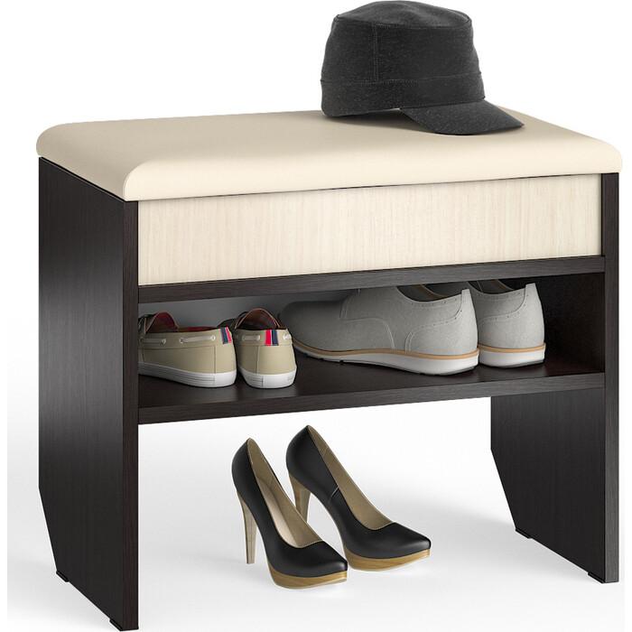 Тумба для обуви Мебельный двор С-МД-ТО-09 венге/дуб с нишей и мягким сиденьем