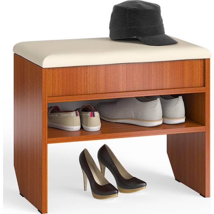 Тумба для обуви Мебельный двор С-МД-ТО-09 вишня с нишей и мягким сиденьем