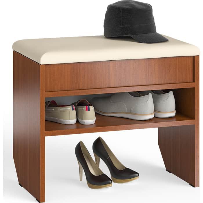 Тумба для обуви Мебельный двор С-МД-ТО-09 итальянский орех с нишей и мягким сиденьем