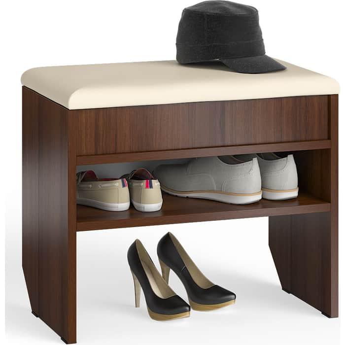 Тумба для обуви Мебельный двор С-МД-ТО-09 орех с нишей и мягким сиденьем