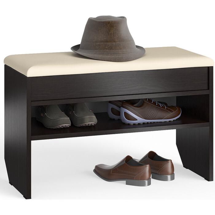 Тумба для обуви Мебельный двор С-МД-ТО-10 венге с нишей и мягким сиденьем