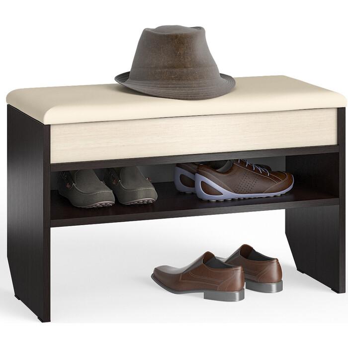 Тумба для обуви Мебельный двор С-МД-ТО-10 венге/дуб с нишей и мягким сиденьем