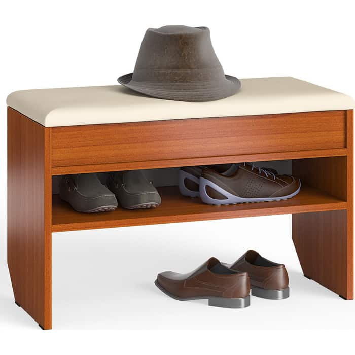 Тумба для обуви Мебельный двор С-МД-ТО-10 вишня с нишей и мягким сиденьем