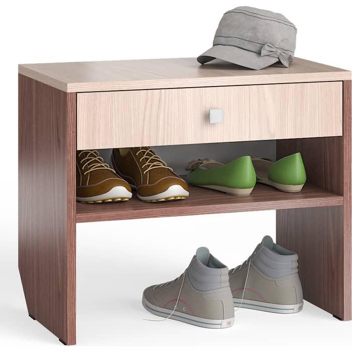 Тумба для обуви Мебельный двор С-МД-ТО-08 ясень шимо светлый/ясень шимо тёмный с выдвижным ящиком