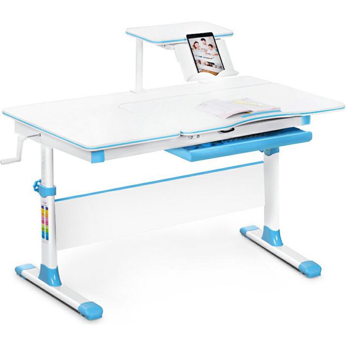 Детский стол Mealux EVO-40 lite BL столешница белая/ножки белые с голубыми накладками