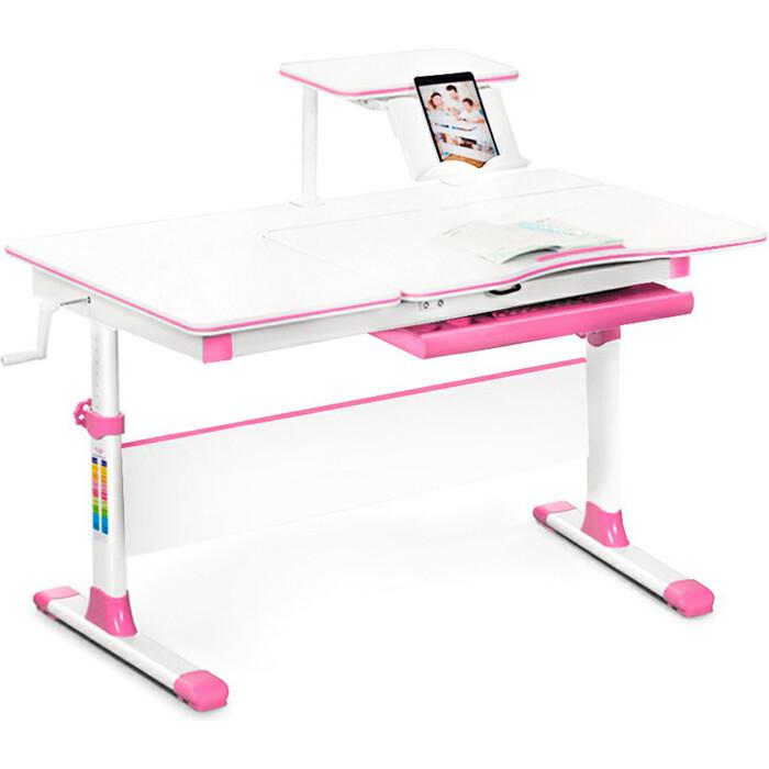 Детский стол Mealux EVO-40 lite PN столешница белая/ножки белые с розовыми накладками