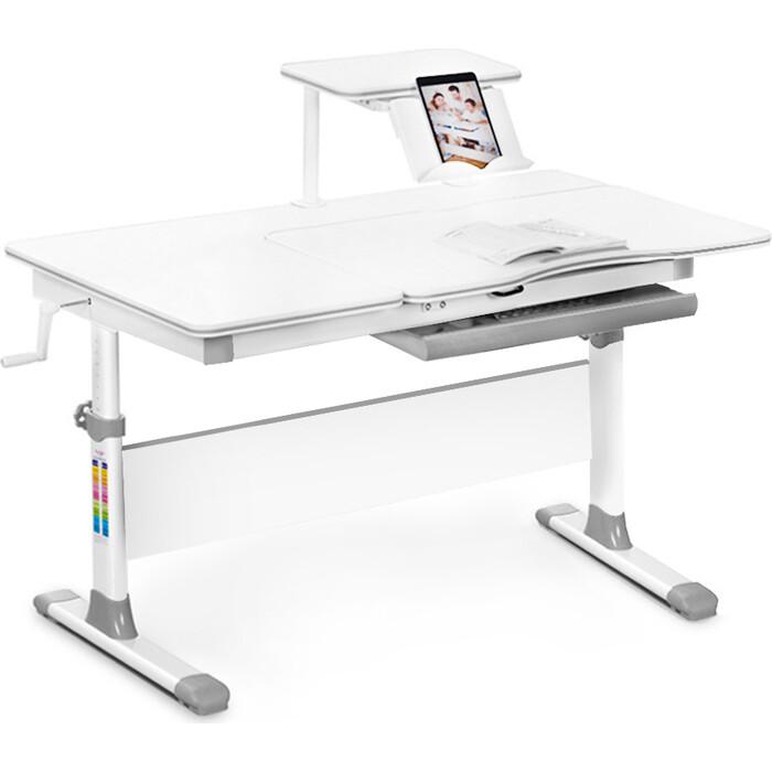 Детский стол Mealux EVO-40 lite G столешница белая/ножки белые с серыми накладками