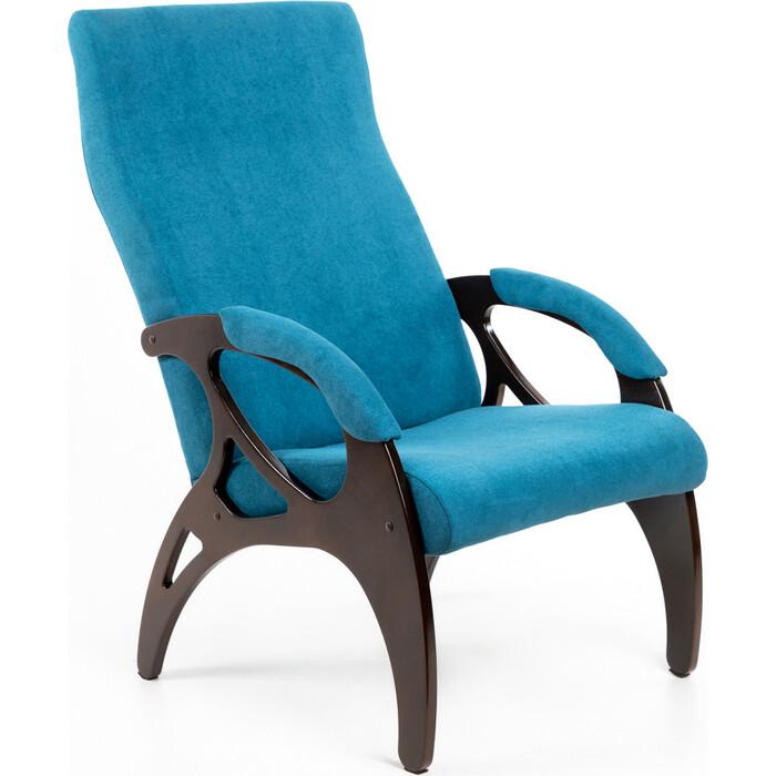 Кресло Мебелик Бергамо ткань бирюза/каркас орех