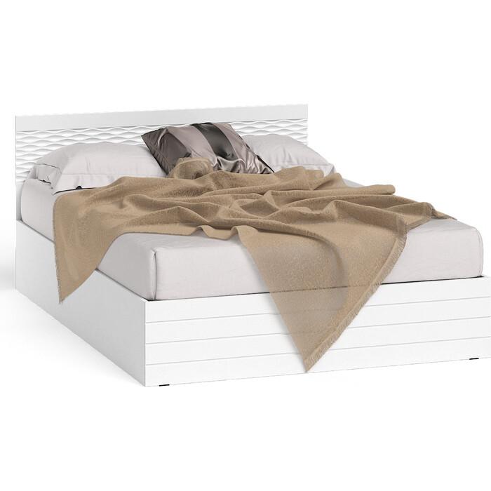 Кровать СВК Ручеек 1400 корпус белый/фасад мдф белый глянец 140х200
