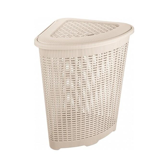 корзина для мусора бытпласт 10л диаметр 256 мм высота 280 мм Корзина для белья Бытпласт угловая, 50л, 395х395х595 мм (бежевый)