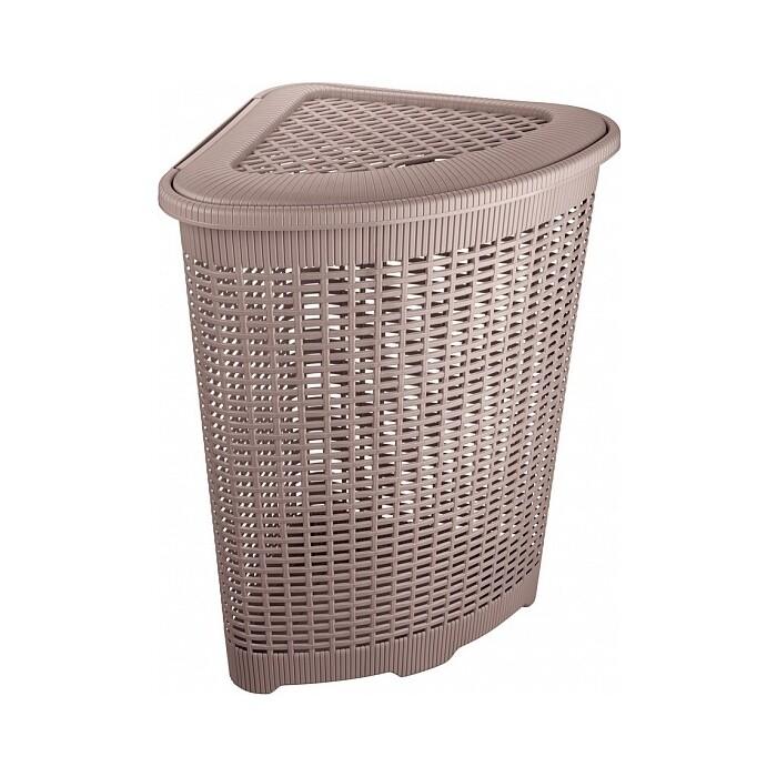 корзина для мусора бытпласт 10л диаметр 256 мм высота 280 мм Корзина для белья Бытпласт угловая, 50л, 395х395х595 мм (коричневый)
