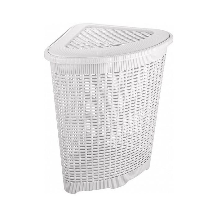 корзина для мусора бытпласт 10л диаметр 256 мм высота 280 мм Корзина для белья Бытпласт угловая, 50л, 395х395х595 мм (белый)