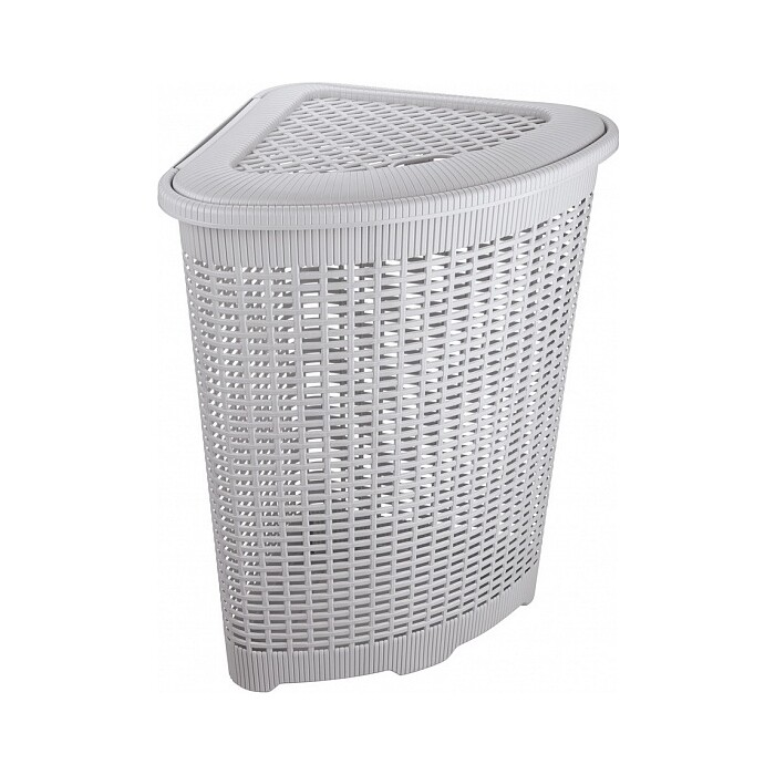 корзина для мусора бытпласт 10л диаметр 256 мм высота 280 мм Корзина для белья Бытпласт угловая, 50л, 395х395х595 мм (светло-серый)
