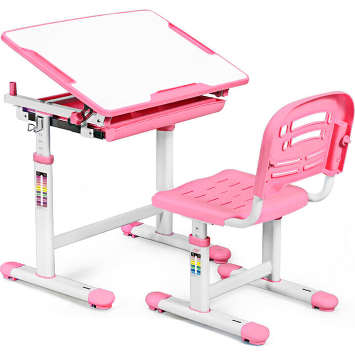 Комплект мебели (столик + стульчик) Mealux EVO-06 pink столешница белая/пластик розовый