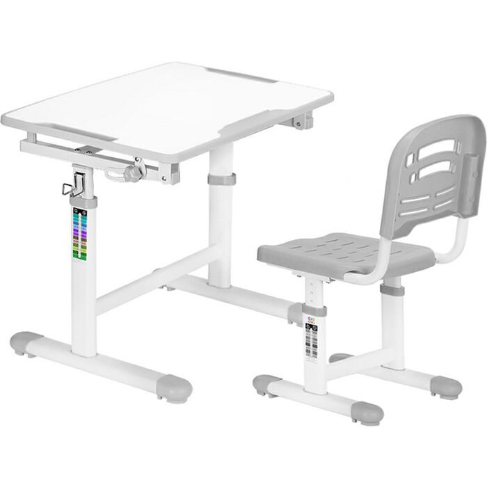 Комплект мебели (столик + стульчик) Mealux EVO-07 grey столешница белая / пластик серый