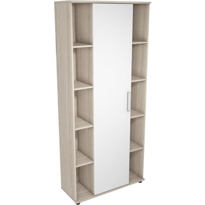 Шкаф колонна Ника Рио 3 АН-40 ясень шимо светлый/белый глянец
