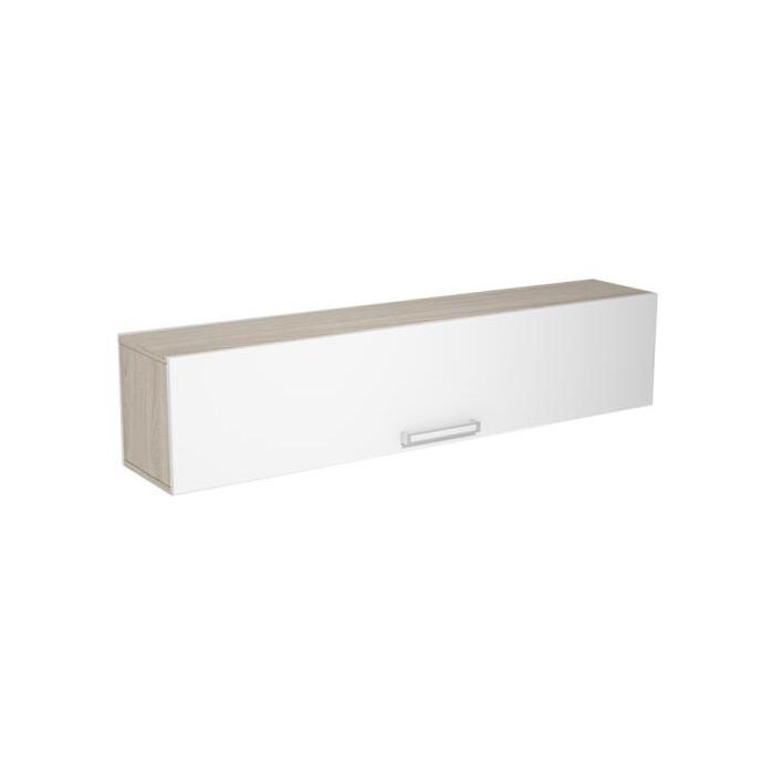 Шкаф навесной горизонтальный Ника Рио 3 АН-13 ясень шимо светлый/белый глянец