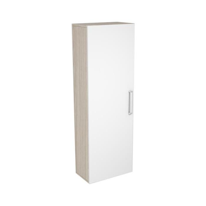 Шкаф навесной с полками Ника Рио 3 445 АН-42 ясень шимо светлый/белый глянец