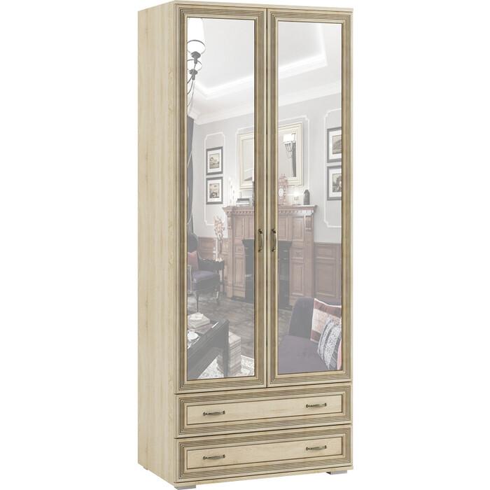 Шкаф 2-х створчатый с зеркалом Ника Ливорно ЛШ-23 дуб сонома шкаф комбинированный с зеркалом ника ливорно лш 9 дуб сонома