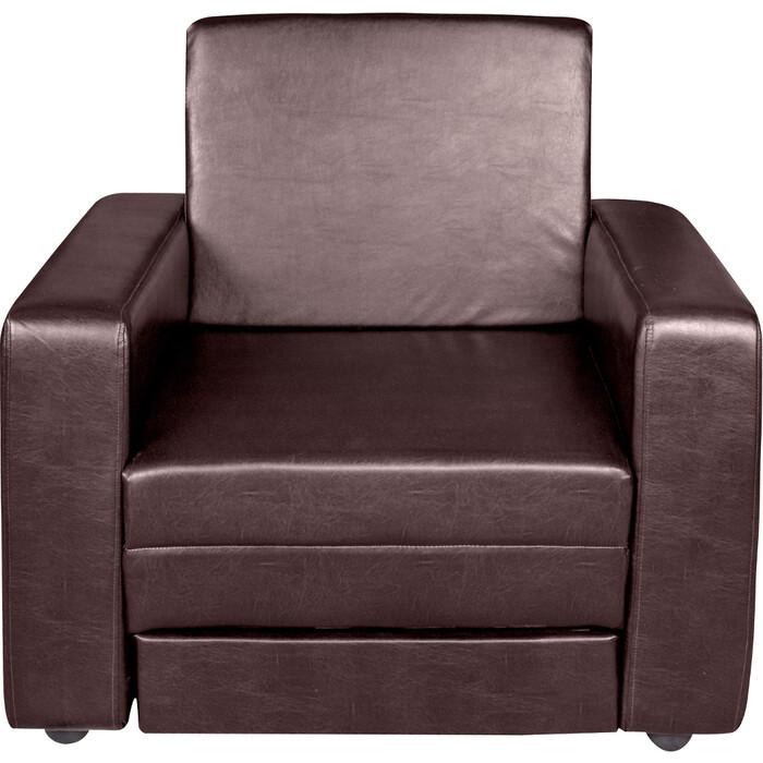 Кресло-кровать Экомебель Атлантида экокожа темно-коричневая