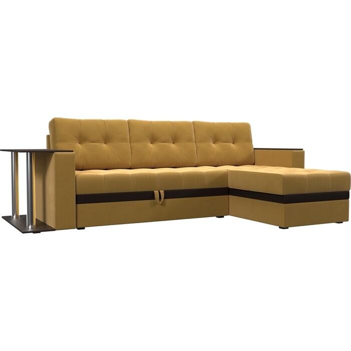 Угловой диван Мебелико Атланта М микровельвет желтый правый угол